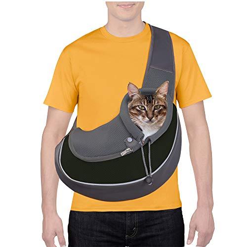 CUBY Haustier-Tragetasche, für Hunde und Katzen, atmungsaktiv, Netzstoff, verstellbar, für kleine Hunde und Katzen (schwarz, M)