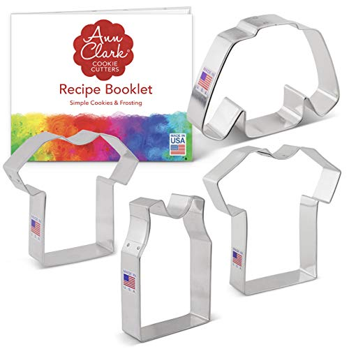 Ann Clark Cookie Cutters Juego de 4 cortadores de galletas camiseta deportiva / jersey con libro de recetas, camiseta pequeña, camiseta grande, camiseta sin mangas y jersey