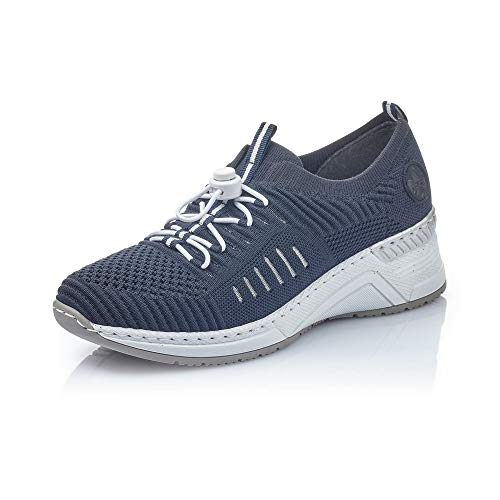 Rieker Damen Sneaker N4360, Frauen Slip-On Sneaker, Freizeit Halbschuh sportschuh Slipper Gummizug atmungsaktiv Damen,Navy/Pazifik / 14,38 EU / 5 UK