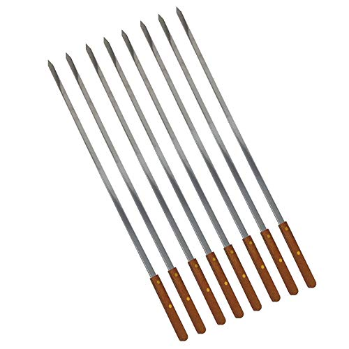 For Sale! Unique Housewares BBQ Stainless Steel Skewers W/Wooden Handle 23 Inch Long,1/4 Inch Wide f...