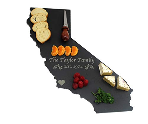 Custom California Black Slate Cutting Board, Serving Tray, or Cheese Board- Personalized with Laser Engraving