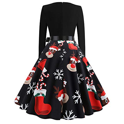 BOLANQ Damen Elegant 1950er Rockabilly Kleid Spitzenkleider Polka Dots Retro Vintage Petticoat Kleider Faltenrock(X-Large,B-Schwarz)
