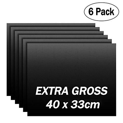 IREGRO BBQ Grillmatte 6er Set 40X33CM, Antihaft Grillmatte Backmatte Grillfolie, Wiederverwendbar 100% Antihaft PFOA-Frei