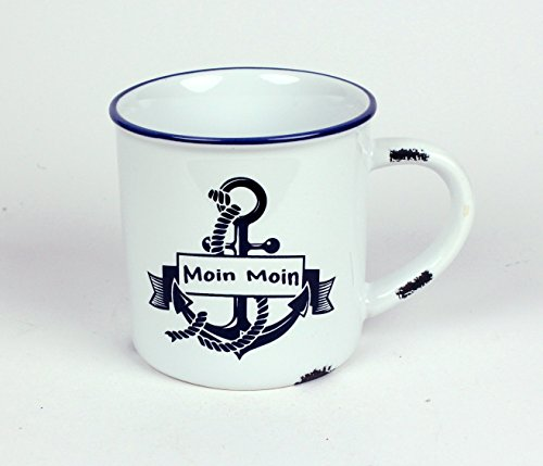 Moin Moin Anker Kaffeebecher Kaffeepott weiß BLAU