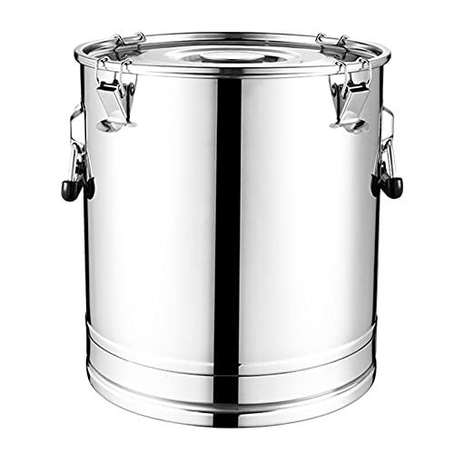 LJJ Cubo de Acero Inoxidable Bucket Bucket Bucket Pitcher con Tapa sellada Mango de Ahorro de Trabajo Piso Estable para el Almacenamiento de Leche y fluidos de Vino (tamaño : 25L)