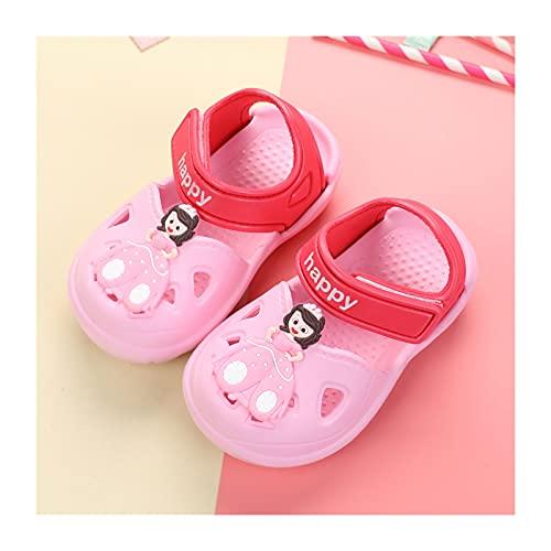 Sandalias De Slide Sandals Princess Niñas Lindas Zapatillas De Verano Nátiles Soft Beach Pool Shoes(Size:17-17cm,Color:Rosa)
