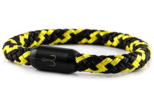 """Fischers Fritze® Segeltau Armband TORPEDOMAKRELE 2.0"""" schwarz gelb, 22.0"""