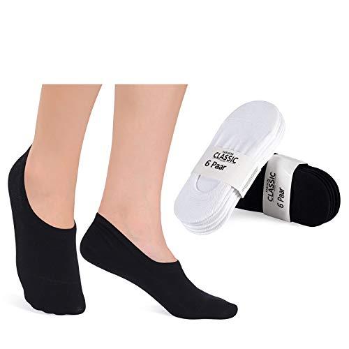 YouShow Chaussettes Basses pour Femmes Hommes 12 Paires Socquettes de Sport en Coton Antiglisse des Décontractées(12paar,Noir/Blanc,35-38