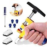 2-in-1-Glasschneid werkzeug-Kit,Premium-Glasschneidewerkzeug 3mm bis 15mm,Glasschneidwerkzeug für Glasschneiden/Spiegeln/Glasmalerei mit 2 zusätzlichen Köpfen,4 Druckspitzen und einem Schraubendreher