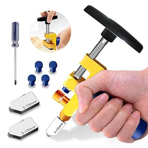 Kit de herramientas de corte de vidrio,alta calidad de 3mm a 15mm, herramienta de corte de vidrio para corte de vidrio/espejoidriera con 2 cabezas adicionales,4 puntas de presión y un destornillador