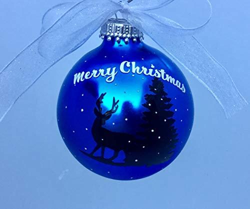 Yor242len Adorno de bola de Navidad con silueta de reno – adorno personalizado de bola de reno