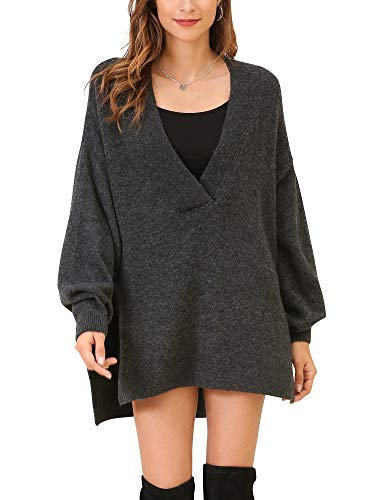 Woolen Bloom Mujeres Jersey Cuello en V Suéter de Punto Sueltos