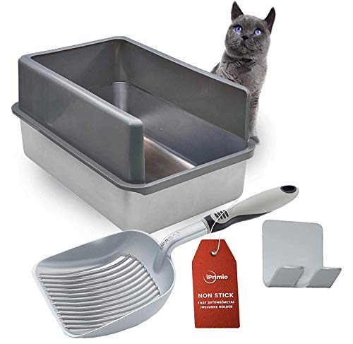 Stainless Steel Cat XL Litter Box and Cat Litter Scooper - Shovel & Pan for Sifting Kitty Cats Litter, Rust Resistant, Comfy Grip