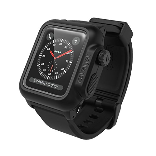 Waterproof Apple Watch Case 42mm Series 2 & 3 with Premium Soft Silicone Apple Watch Band by Catalyst, Shock Proof Impact Resistant [Rugged iWatch Protective case], Stealth Black