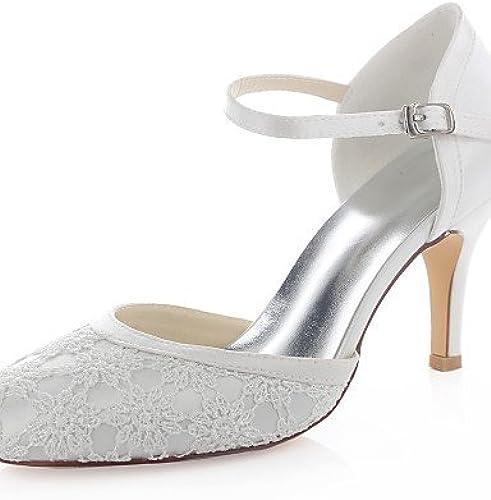 Ggx femme Chaussures en satin stretch Printemps été Bout Rond talons de mariage robe Stiletto Talon Boucle Ivoire