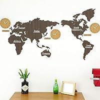 壁掛け時計 掛け時計 世界 地図、世界地図壁掛け時計大型モダンデザイン、装飾的な壁時計電池式非カチカチ音をたてる、DIYウォールクロック世界地図ラージモダン木製クォーツ3Dパズル時計、137X63cm,Brown01