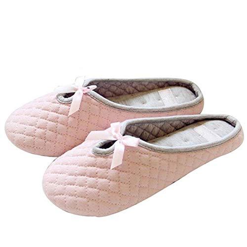 LLSMBHfs Preciosas Zapatillas de casa de Invierno para Mujer con Pajarita para Interior,casa de Dormitorio,Zapatos cálidos de algodón con Fondo Suave,Zapatos Planos para huéspedes Adultos-Rosado_39