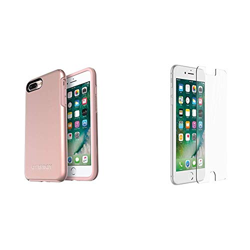 OtterBox SYMMETRY SERIES Case for iPhone 8 Plus & iPhone 7 Plus - ROSE GOLD (PALE PINK/ROSE GOLD GRAPHIC) & OtterBox ALPHA GLASS SERIES Screen Protector for iPhone 6 Plus/6s Plus/7 Plus/8 Plus CLEAR