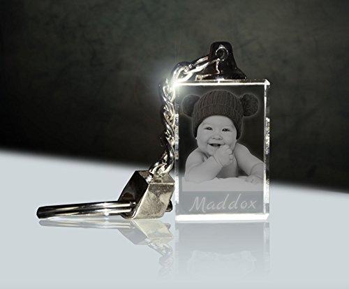 Glas Schlüsselanhänger mit Fotogravur | Dein Baby immer dabei