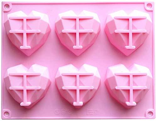 xiaoyamyi Glamourös Silikon Form Diamant Herz Nicht Klebend Kuchen Schokolade Candy Form Bpa-Frei für Hochzeit, Festival, Partys - Rosa