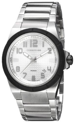 Cerruti 4340434 - Reloj analógico de caballero de cuarzo con correa de acero inoxidable blanca - sumergible a 100 metros
