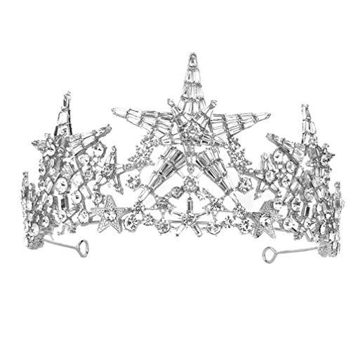Lurrose Tiaras con diamantes de imitación para novia, corona de estrella para...