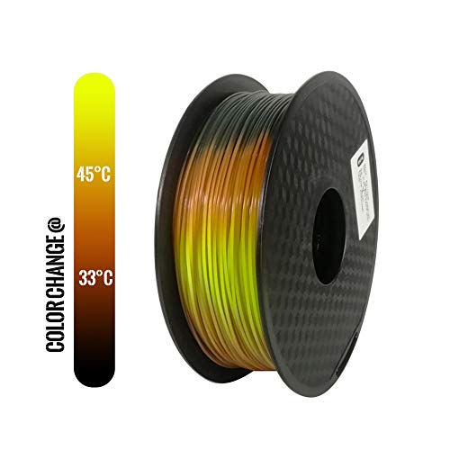 TOPZEAL 3D Printer Filament PLA 1.75mm Temperature Change Color Series, Dimensional Accuracy +/- 0.05mm, 1KG(2.2LBS) Spool for 3D Printer and 3D Pen (Black to Orange to Yellow)