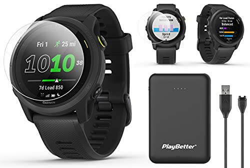 Garmin Forerunner 745 (Black) Power Bundle | with PlayBetter Portable Charger & HD Screen Protectors | Running & Triathlon GPS Smartwatch | Heart Rate, Built-in Sports Apps, Music | 010-02445-00