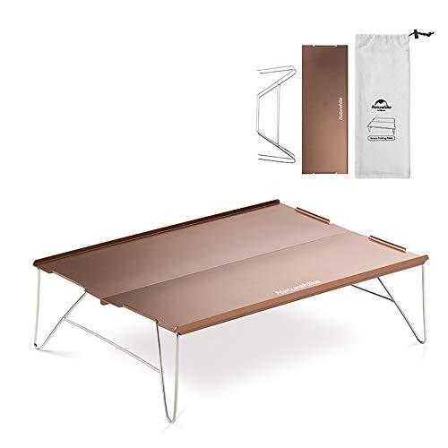 iBasingo Aluminium Klapp-Campingtisch Ultraleichtflugzeuge im Freien Serviertisch für Laptops Tragbarer Esstisch Picknick Mini-Teetisch Backpacker-Tisch (Brown) NH17Z001-L