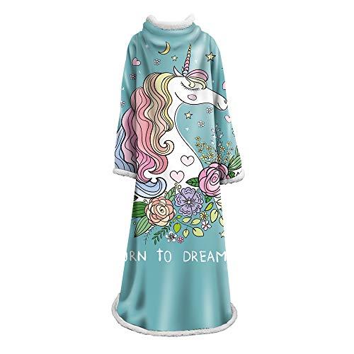 JJHH Einhorn Fleecedecke mit Ärmeln Original Decke Poncho Travel Wearable Decke auf dem Planeten Soft Throw drinnen oder draußen Erwachsene Männer Frauen Kinder,h
