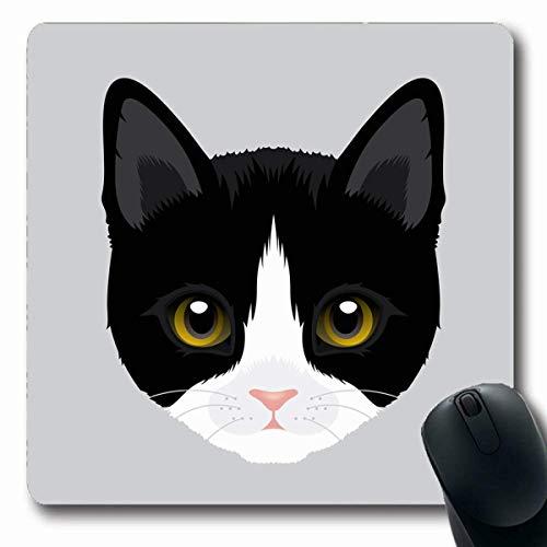 Luancrop Mousepads Yellow Face Tuxedo Wildlife Schwarz Weiß Cute Kitty Design rutschfeste Gaming-Mausunterlage Längliche Gummimatte