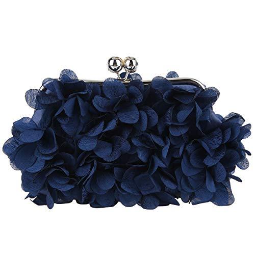 Fawziya Floral Clutch Purses For Women Satin Evening Bag-Navy Blue