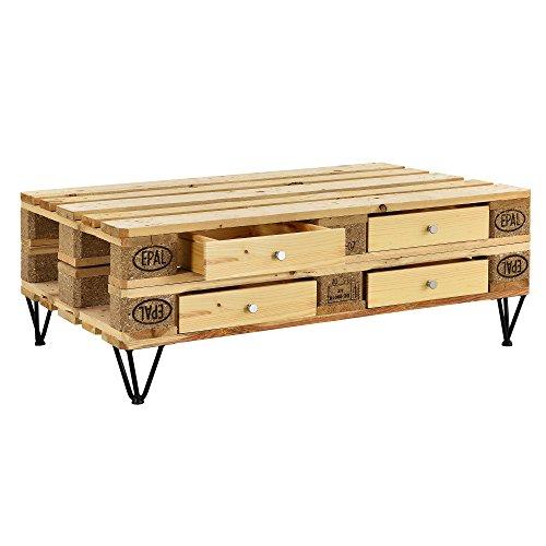 [en.casa] DIY Möbel-Set 4X Schublade für Europaletten Regal Holz-Optik + 20 cm Schwarz Hairpin Legs Paletten Kommode