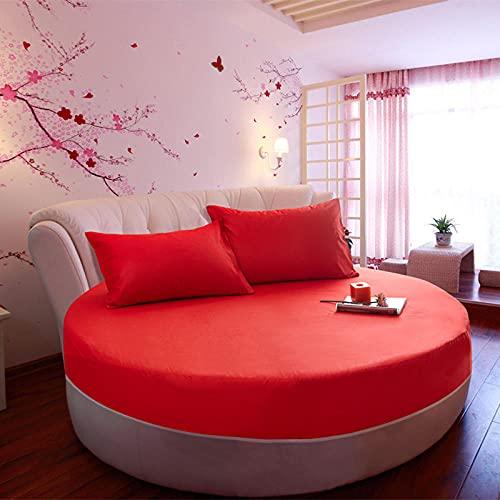 CYYyang Colchón Antiácaros de Espuma de para Cama Microfibra Funda de Cama de Color Puro de algodón Puro, Cama Redonda, Rojo