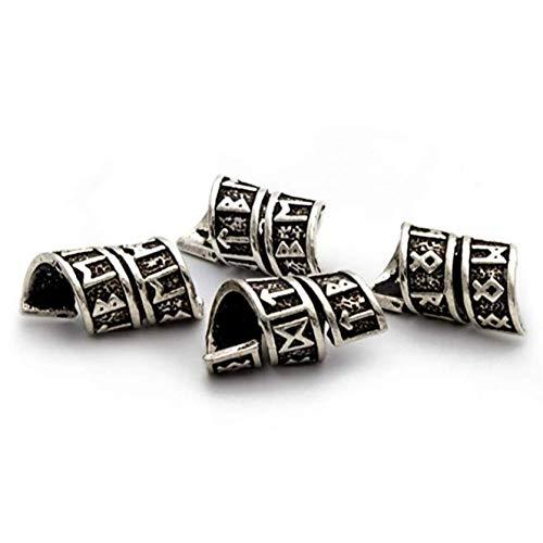 Viking Rune Beard Bead Coil Set (4-Pack) - Copper Norse Rings for Hair, Dreads & Beards