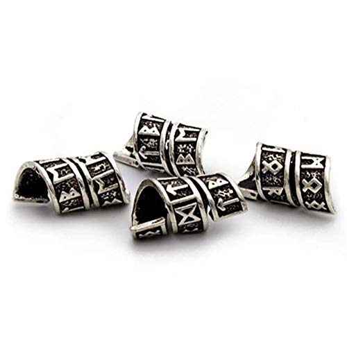 Viking Rune Beard Bead Coil Set (4) - Norse Rings for Hair, Dreads & Beards