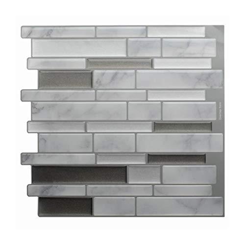 ZXF Pegatinas de baldosas 4 Piezas de mármol gris blanco del mosaico del azulejo cáscara y la pared del palillo auto adhesivo contra salpicaduras de bricolaje Cocina Baño pared del hogar de la etiquet