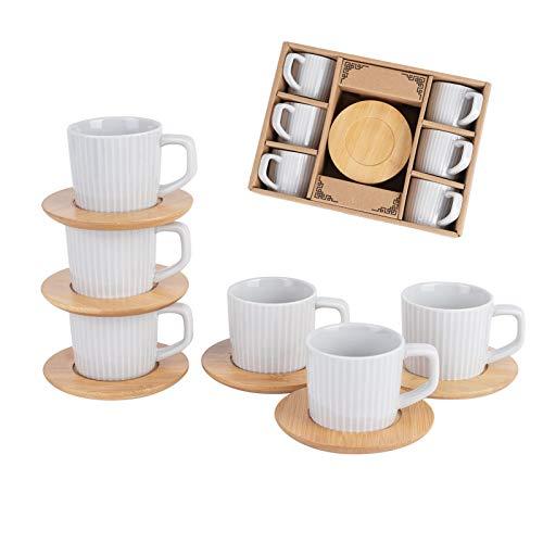 SOPRETY Kaffeetassen Set für 6 Personen, Keramik Espressotasse und Bambus Untersetzer (12-TLG), für Tee Kaffee Espresso, 90 ml, spülmaschinenfest (Grau)