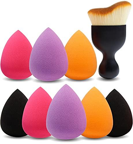 pennelli make up multicolor Amazon Brand – Eono 8 + 1Pcs Spugne per trucco e pennello per contorno