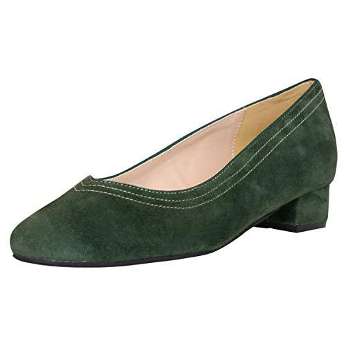 HIRSCHKOGEL Damen Dirndl-Schuhe Pumps Ammersee in Dunkelgrün Trachten-Schuhe, Schuhgröße:37 EU, Farbe:Dunkelgrün