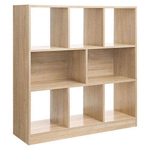 VASAGLE Bücherregal, Raumteiler Regal, Standregal aus Holz mit offenen Fächern, Vitrine für Wohnzimmer,...