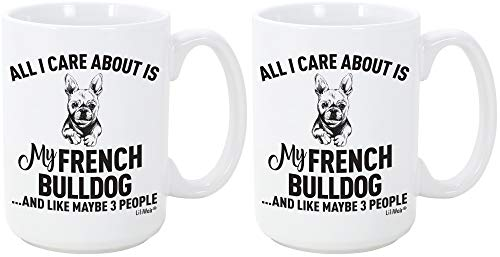 2-Pack Bundle French Bulldog Mom Gift Mugs For Christmas Women Men Dad Decor Lover Decorations Stuff I Love French Bulldog Coffee Accessories Talking Art Apparel Funny Birthday Gift Products Dog Cup