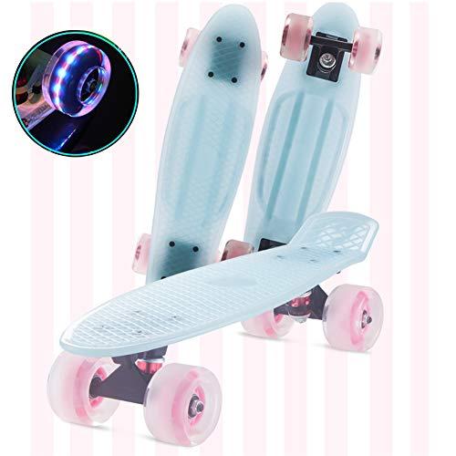 FANGNVREN Skateboard Kinder, Mini Cruiser Kickboard Penny Board 57 cm x 15 cm mit LED-Leuchträdern für Jungendliche Anfänger mädchen Jungs Geburtstagsgeschenk,Blau