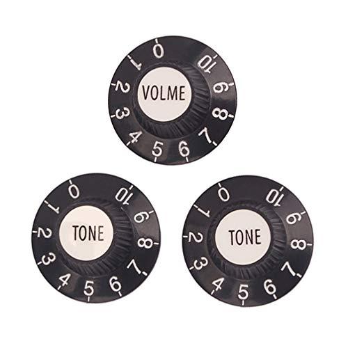 Healifty 3pcs boutons de commande de tonalité de guitare en métal rotatif 1 volumes 2 tonalités pour fender strat st telecaster guitare basse électrique (noir)