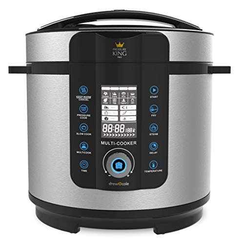 Drew & Cole Pressure King Pro Electric Pressure Cooker 20-in-1 Multi Cooker, Rice Cooker, Slow Cooker, Soup Maker, 1000 W, 6 Litre, Chrome
