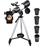 QUNSE Telescopes for Adults, 70mm Aperture 400mm AZ Mount Telescopes for Astronomy Beginners, K9, K17.5, K25mm Kellner Eyepieces Refractor Telescope with Adjustable Tripod and Phone Adapter