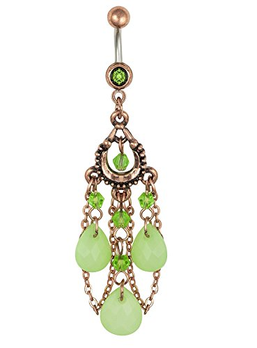 Pierced Owl Vintage Chandelier Dangle Belly Button Ring with Jade Colored Tear Drop Beads Chain 14G