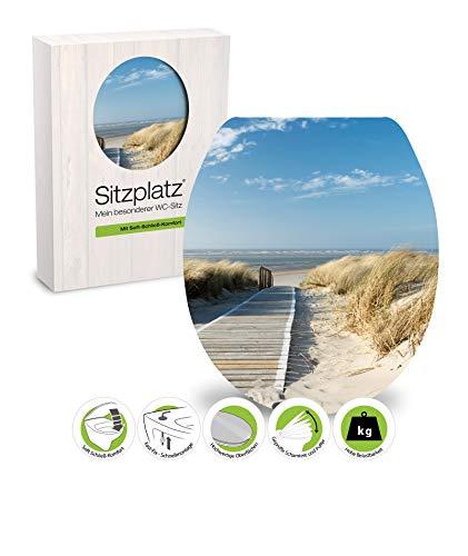 SITZPLATZ® - 40218 7 - WC-Sitz High-Gloss - Dekor Dünenblick - WC Brille mit Absenkautomatik - Toilettensitz mit Holz-Kern & Fast-Fix Schnellbefestigung