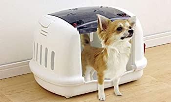 Iris Ohyama, Small pet carrier / carrier small pet, house, 2 side notches for seat belt, 2 openings (front & top), pour chat, chien, rongeur - Pet House & Carry P-HC480 - Gris