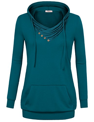 Timeson Pullover Hoodie, Women's Long Sleeve Cute Hoodie with Pocket Cool Blue Sweatshirts Plus Size Dark Cyan XX-Large